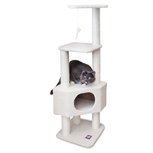 Majestic Pet Products 52 Inch Cat Tree Furniture Tower Condo House with Scratching Post, Multi-Level Activity Pet Tree (Cream Bungalow) ()