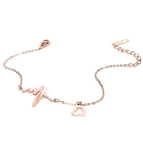 Yolanda Heartbeat Bangle Adjustable Open Cuff Bracelet Gift For Nurses Doctors (Rose Gold ()