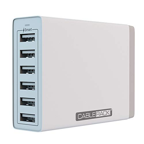 CableRack 6 Port Multi USB Charger Fast USB Wall Charging Station for Multiple Devices White