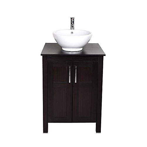 Modern Furniture 24 Inches Single Sink Bathroom Vanity with Ceramic Porcelain Sink Top, Chrome Faucet, Pop Up Drain Set