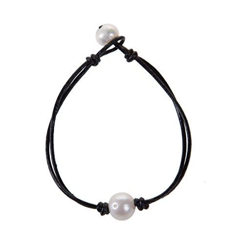 Pearl Single Wrap Bracelet - The Feeling Handmade Pearl Wrap Bracelet Single Pearl Leather Knotted Bracelet for Women 8