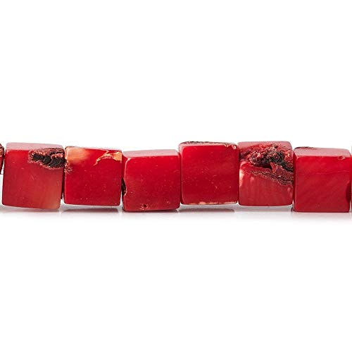 6mm Dyed Red Coral Cube Beads, 14 inch