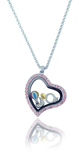 Floating Adjustable Locket Necklace with Choice of 6 Charms and Matching Chain (Pink Rhinestone Heart) by BG247 Plated Heart Locket