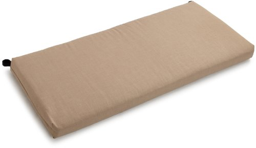 Blazing Needles Indoor/Outdoor Spun Poly 19-Inch by 42-Inch by 3-1/2-Inch Bench Cushion, Sandstone