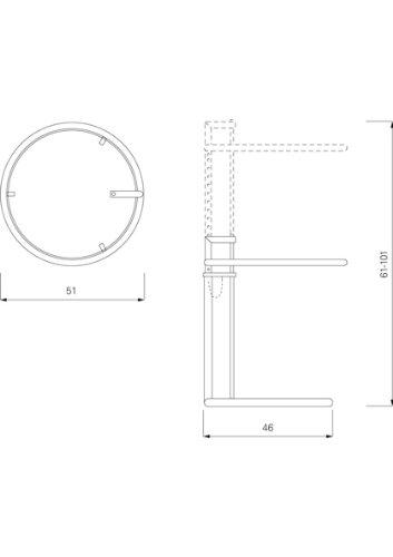 Classicon Eileen Gray Adjustable E 1027 Original Table Du0027appoint:  Amazon.fr: Cuisine U0026 Maison