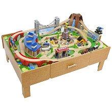 Amazon.com: Imaginarium Classic Train Table with Roundhouse Wooden ...