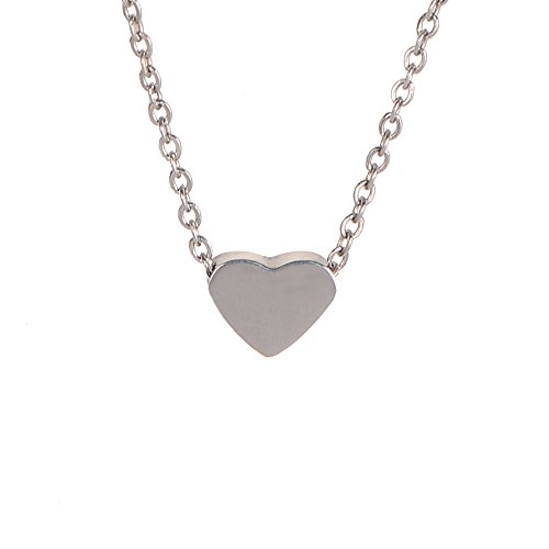 Sweetheart Collar Charm - Women Heart Chain Necklace. Tiny Silver Tone Stainless Steel Gift Boxed Love Sign Charm Pendant Jewelry