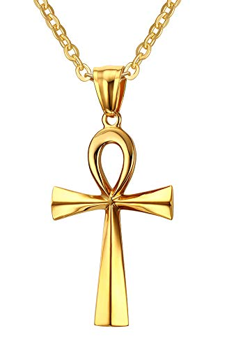 Stainless Steel Egyptian Ankh Cross Pendant Necklace,Gold,20 inch Chain ()