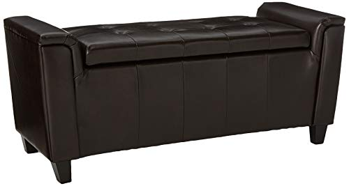 Christopher Knight Home 296763 Living James Brown Tufted Leather Armed Storage Ottoman Bench, 17. 50D x 45. 50W x 20.75H, ()
