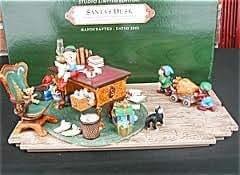 2001 Hallmark Keepsake Ornament Club Studio Limited Edition 'Santa's Desk' Keepsake Ornaments with Display Piece
