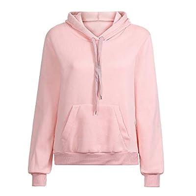 XOWRTE Long Sleeve Hoodie Sweatshirt Women Hooded Pullover Blouse Solid Pocket Autumn Winter Loose Pink Gray Navy Top