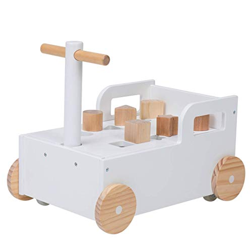2 in 1 Wooden Baby Learning Walker Wooden Push Along Trolley for Toddlers and Babies over 36 Months Baby Walker with 20 Blocks Toddler Wobbler
