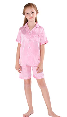 Horcute Pajamas Little Kid Sleepwears Set Pjs Clothes Short Sleeve Rosegold 160# 9-10Y ()