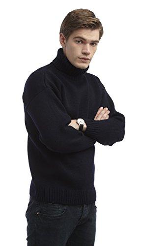 Wool Roll Neck Sweater (Mens Merino Wool Submariners Sweater (L, Navy))