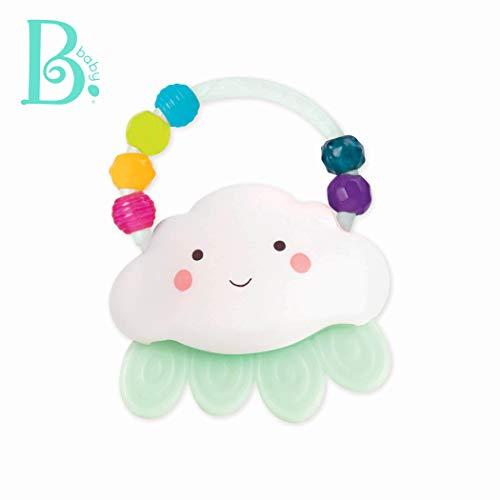 B Toys by Battat - Rain-Glow Squeeze - Light-Up Cloud Rattle for Babies 3 Months +