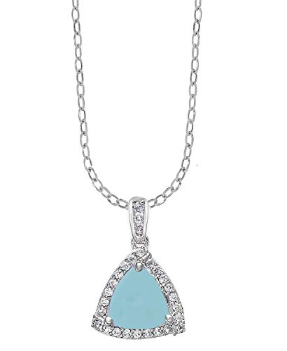 (Sterling Silver with Trillion Cut Natural Aquamarine and White Topaz Halo Pendant with 18