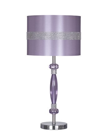 Ashley Furniture Signature Design - Nyssa Table Lamp with Drum Shade - Purple and Silver - Outlet Harlem