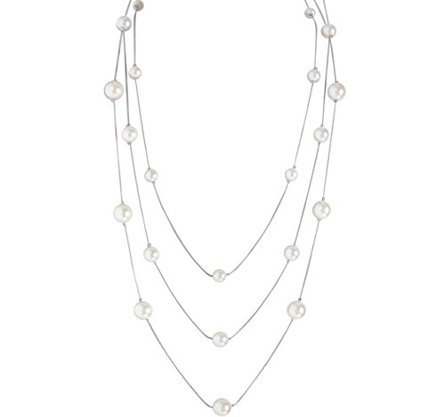 Humble Chic Simulated Pearl Long Layering Necklace Multi-Strand Beaded Statement Chain, Silver-Tone, White