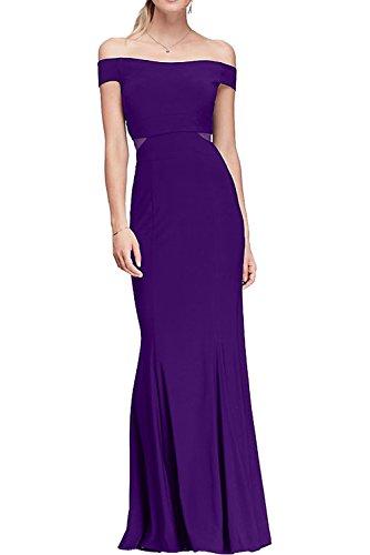 Ivydressing Damen 2017 Neu Etui bodenlang off the shoulder aermellos Satin Abendkleid Partykleid Ballkleid Violett XxF6W