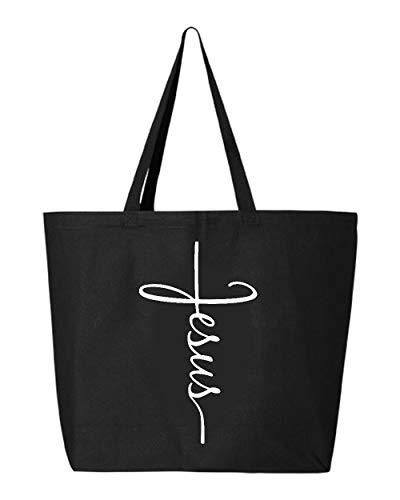 Shop4Ever Jesus Cross Jumbo Heavy Canvas Tote Reusable Shopping Bag 10 oz Black 1 -