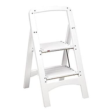 Cosco Products Industrial Two Step Rockford Wood Step Stool, White