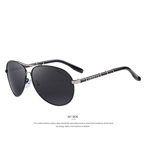 gafas TIANLIANG04 Sol aluminio C01 S'8766 lujo de Gafas hombres duro de clásico sol Negro diseño polarizadas Aviation Black C01 de Los de HD de wFYrqwS