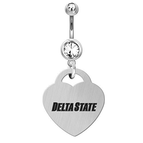 College Jewelry Delta State University Statesmen Large Stainless Steel and Crystal Belly Navel Ring