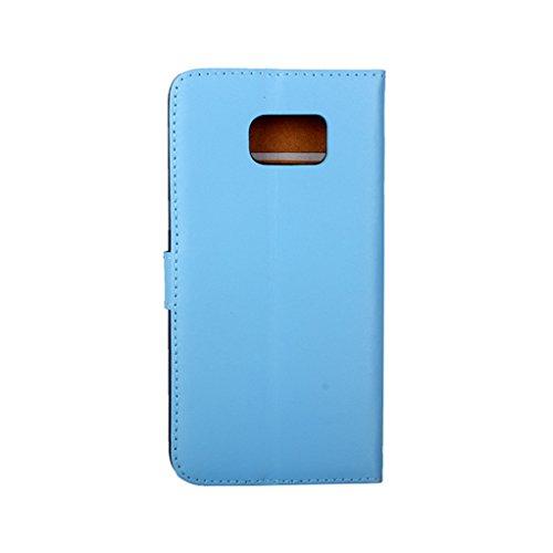 Trumpshop Smartphone Carcasa Funda Protección para Samsung Galaxy S6 edge+ / S6 edge Plus [Púrpura] Cuero Genuino Caja Protector con Función de Soporte Ranuras para Tarjetas Choque Absorción Azul