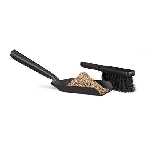 - Relaxdays Small Dustpan and Brush Set, Durable Steel Set with Sweeper, Ash Scoop, Black