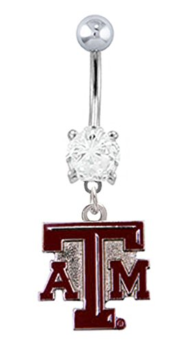 - Texas A&M Aggies Logo dangle College football NCAA Belly button navel Ring piercing bar body jewelry 14g