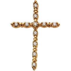 Pendentif Croix-Or jaune 14 carats avec diamants bruts 18 x 13 mm-JewelryWeb