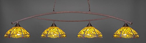 (Toltec Lighting 874-BRZ-946 Bow - Four Light Billiard, Bronze Finish with Amber Dragonfly Tiffany Glass)