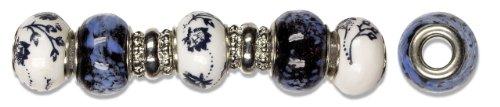 Cousin Trinkettes 7-Piece Glass/Metal Bead, Navy Flowers