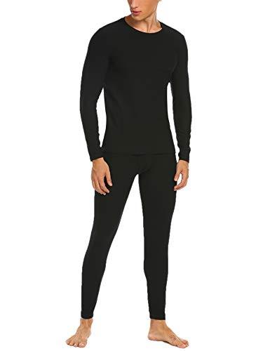 Ekouaer Mens Long Johns Cotton Thermal Underwear Fleece Lined Base Layer Winter Set (Black, M)