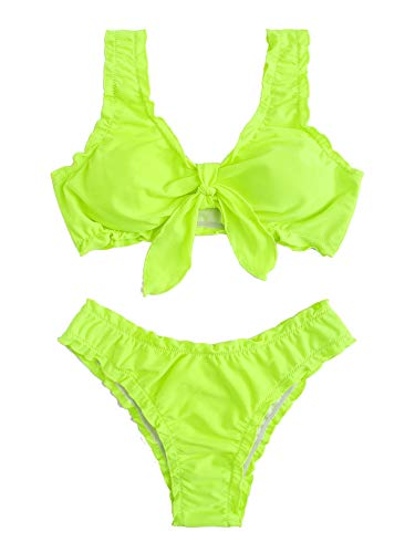 SweatyRocks Women's Sexy Bikini Swimsuit Tie Knot Solid Color Wavy Brazilian Two Piece Swimwear Set Z#Bright M