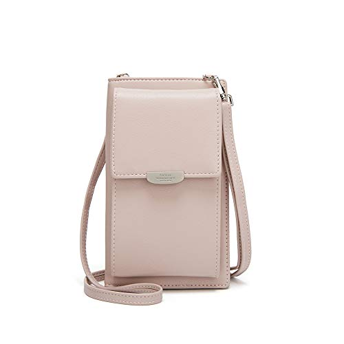 Kingto Small Leather Crossbody Cell Phone Shoulder Bag for Women, Smartphone Wallet Purse with Removable Shoulder Strip for Shopping (pink two)