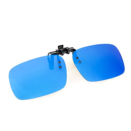 (Cyxus Polarized Clip On Sunglasses with Flip Up Mirrored Lens Blue Flash)