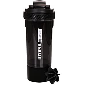 Classic Protein Mixer Shaker Bottle (24-Ounce Bottle) with Twist and Lock Protein Box Storage – Flip Cap and Tapered Spout – by Utopia Home