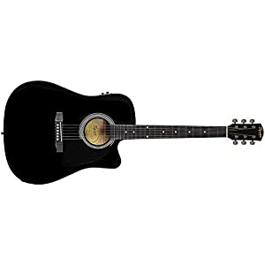 Fender 0930307006 SA-105CE Dreadnought Cutaway Electric Guitar – Black