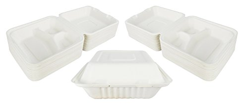- Green Earth 8-inch, 100-Count, 3-Compartment, Compostable Clamshell, Natural Bagasse (Sugarcane Fiber), Take-Out/to-Go Food Boxes - Biodegradable Containers, Hinged Lid - Microwave-Safe - Gluten-Free