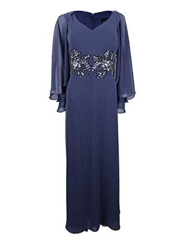 Alex Evenings Women's V-Neck Embellished Capelet Gown (6, Heather) Blue