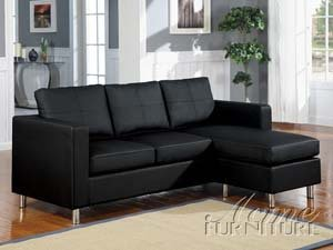 ACME 15065 Kemen Reversible Chaise Sectional with Black Bycast PU