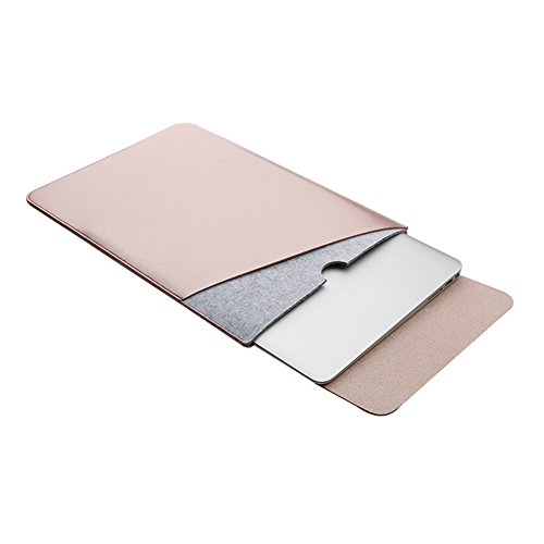 Price comparison product image ELEOPTION Ultra Leather Macbook Sleeve Mircrofiber Laptop Notebook Carry Bag Case With a Flip Pad (MacBook Pro 15.4 inch,  Rose Gold)