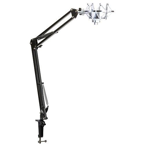 (Knox Microphone Suspension Boom Scissor Arm w/Knox Yeti Mic Shock Mount -Silver)