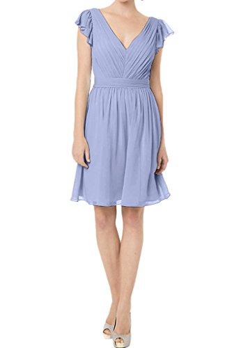 V Ivydressing Einfach Promkleid Linie Lila A Abendkleid Ausschnitt Brautjungfernkleid Festkleid Damen Kurz wwarCq567