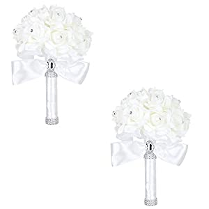 White Ivory Bridal Bridesmaid Flower Wedding Bouquet Artificial Flower Rose Bouquet Crystal Bridal Bouquets,2 Pieces Silver 6