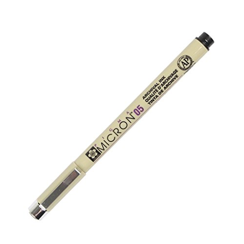 Sakura of America Products - Micron Pen, Waterproof/Fade Resistant, 0.45mm Point, Black - Sold as 1 EA - Pigma Micron Pen is ideal for graphic art, scrapbooks, archival recording, illustrations, freehand art, rubber stamps, cartooning and fabric design on 100 percent cotton fabric for best results. The formulation of pigment-based ink is more complex and stable than dye-based inks. Archival-quality ink is permanent, fade-resistant, waterproof and chemicalproof. Will not smear or feather when dry (0.45 Mm Pen Point)