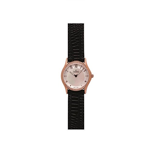 Charmex Cannes 6326 30mm Stainless Steel Case Black Calfskin Synthetic Sapphire Women's Watch