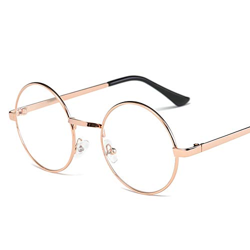 815bb7ddc1 Lovef Large Oversized Metal Frame Clear Lens Round Circle Vintage Eye  Glasses 5.42inch (Rose