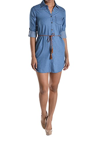 Chambray Dress Denim - Chambray Button up Denim Women's Dress with Belt ( Regular/plus ) (3XL, Med Wash)